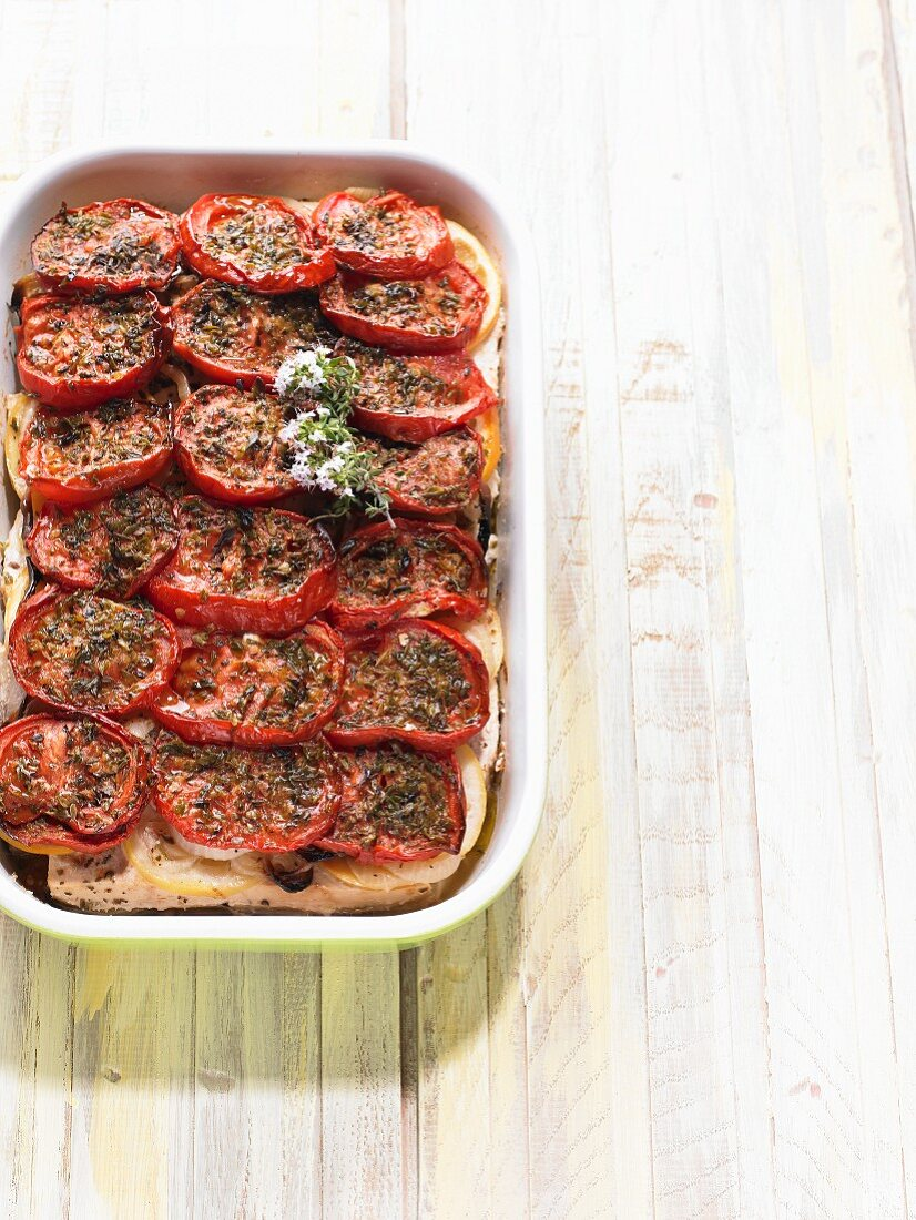 Fish casserole with tomatoes (Greece)