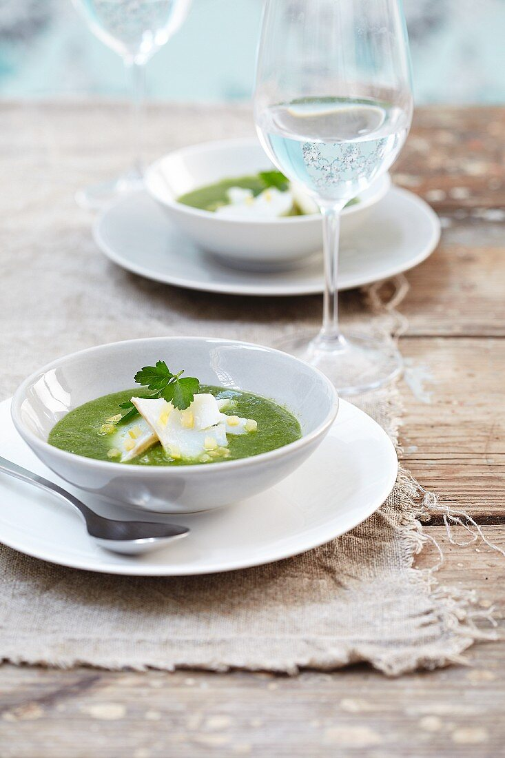 Parsley soup with cod