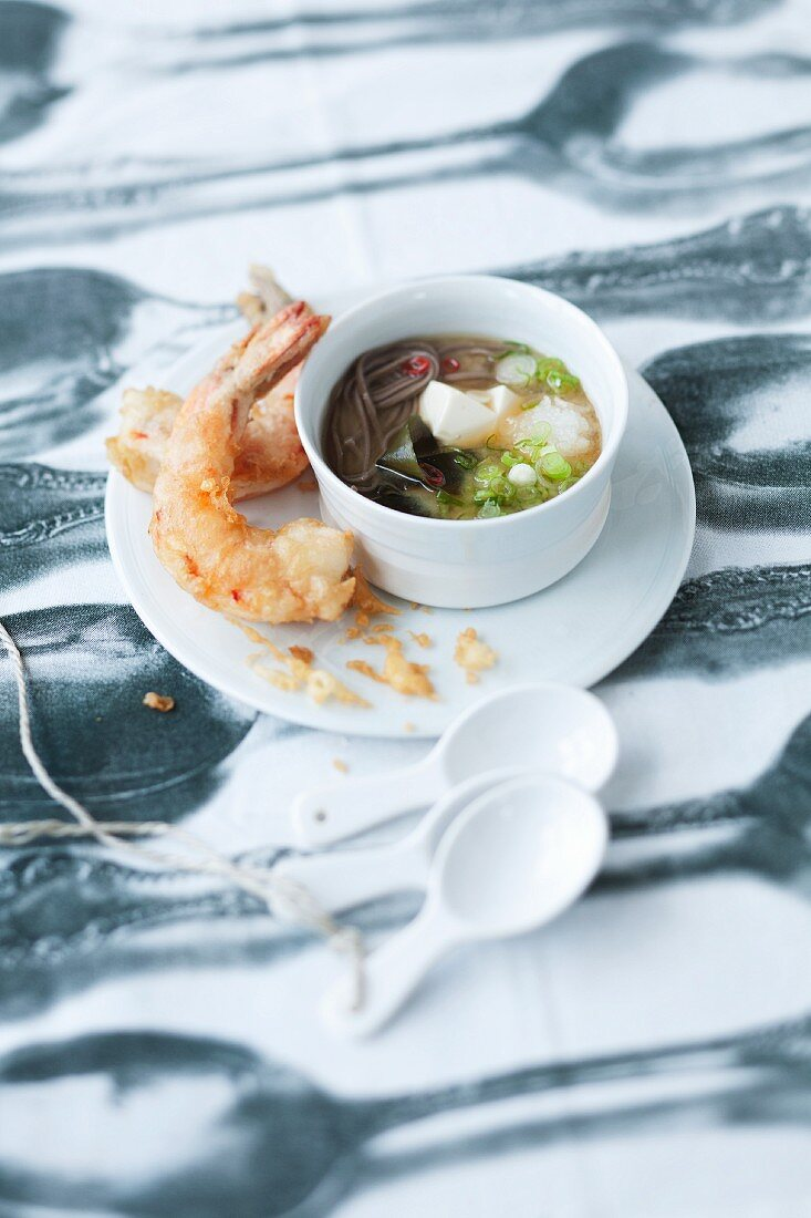 Miso soup with prawns in tempura batter