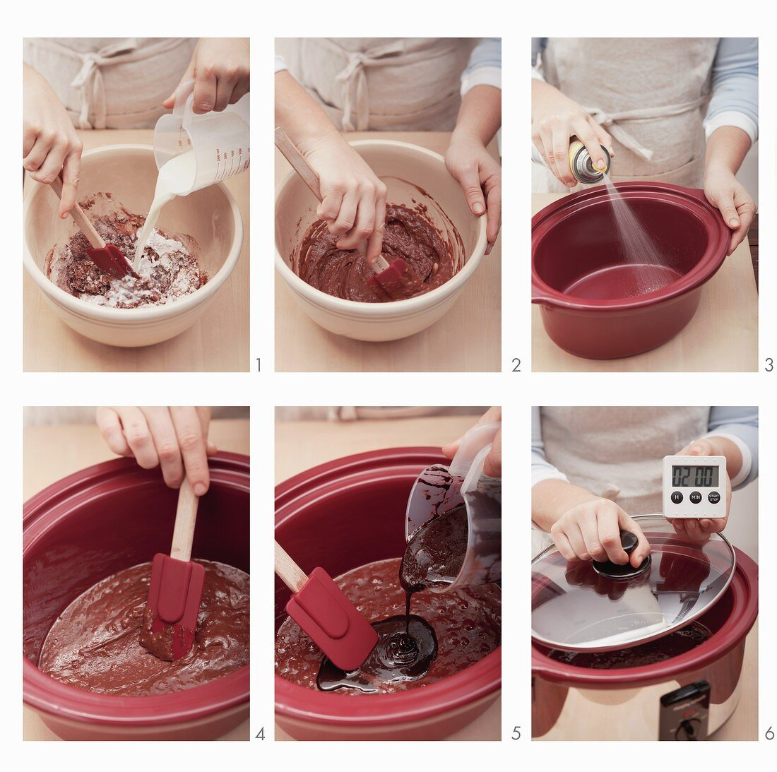 Hot Fudge Cake being made in a slow cooker