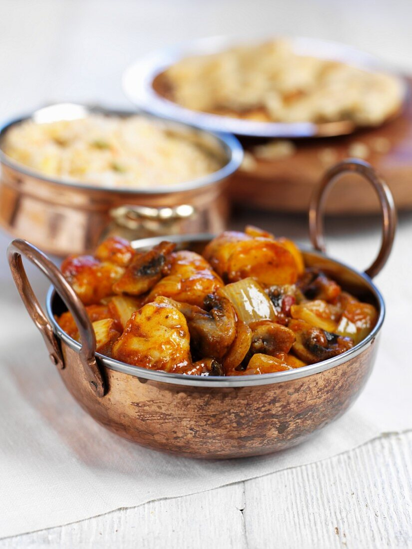 Potato curry with mushrooms (India)