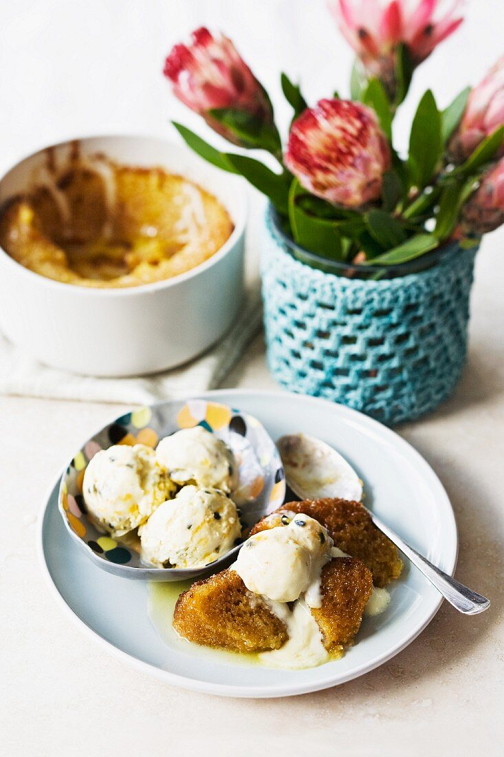 Malva pudding (South African dessert) with granadilla ice cream