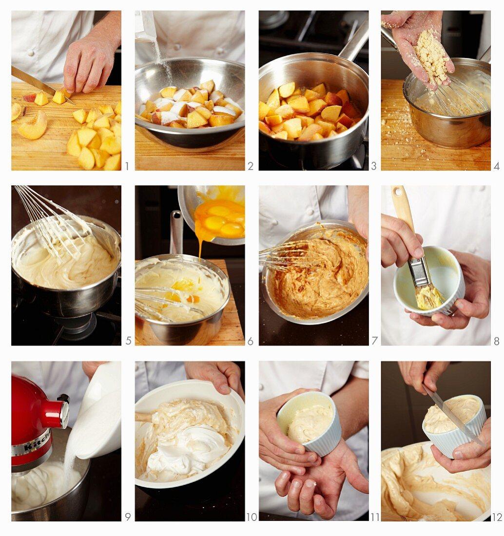 Peach souffle being prepared