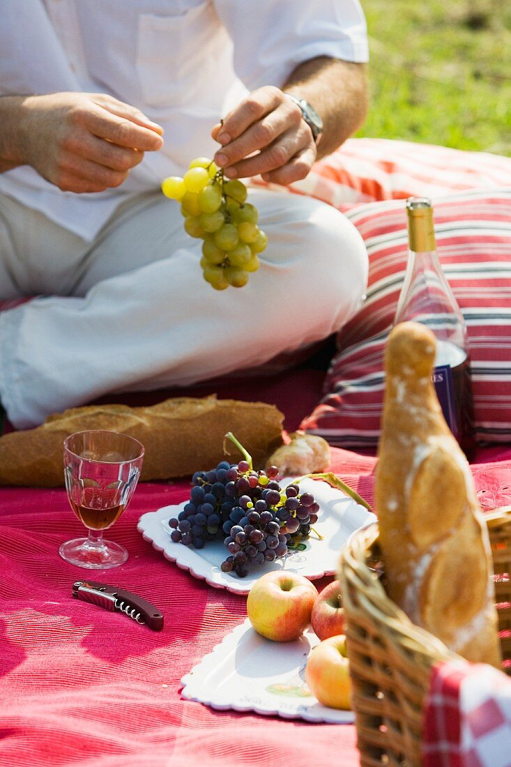 Picnicking in a field - a man sitting on a red blanket with a plate of grapes, a glass of wine and a basket of bread