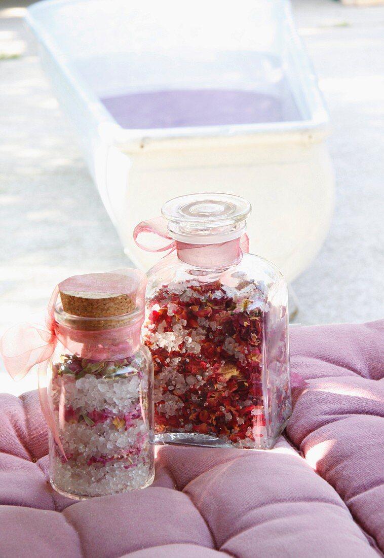 Jars of rose bathing salts