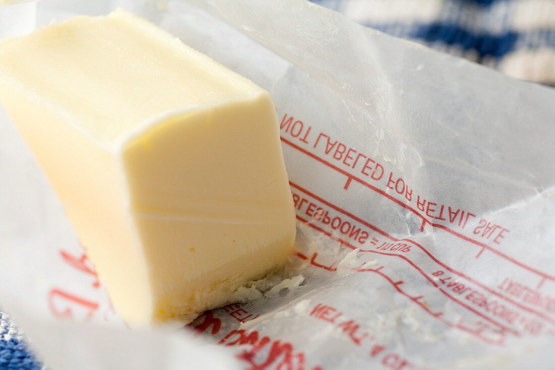 Part of a Stick of Butter on Wrapper