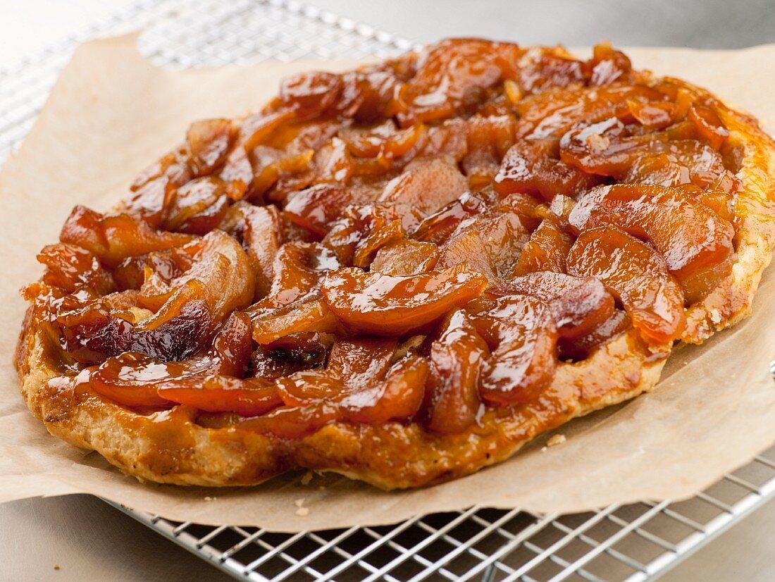 Apple Cinnamon Tart on Puff Pastry Crust; On Cooling Rack