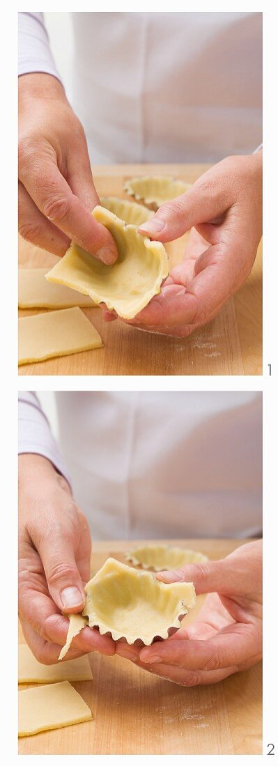 Shortbread being placed in small dishes