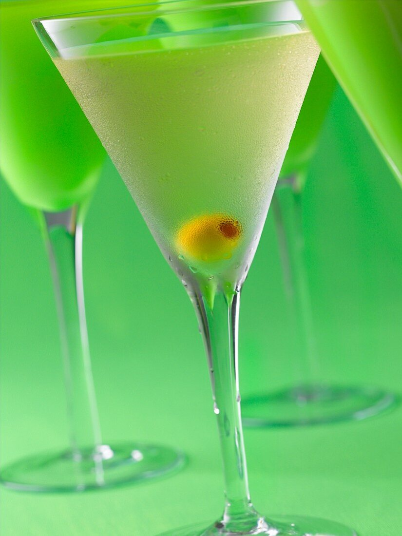 Gin Martinis on Green Background