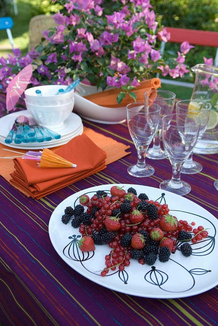 Mixed berries on summery table decked with striped purple cloth and bougainvillea