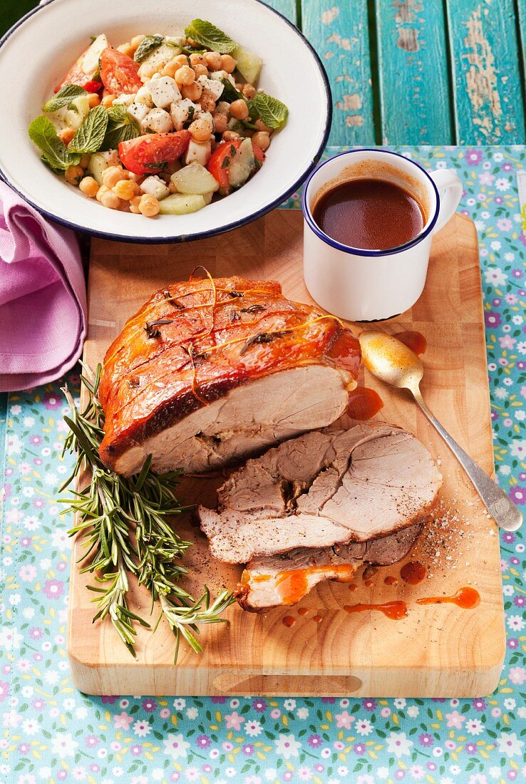 Greek leg of lamb with rosemary and a chickpea salad