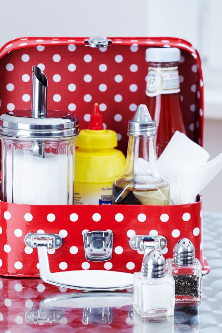 A sugar shaker, mustard, a vinegar bottle, ketchup and salt and pepper shakers in a child's suitcase