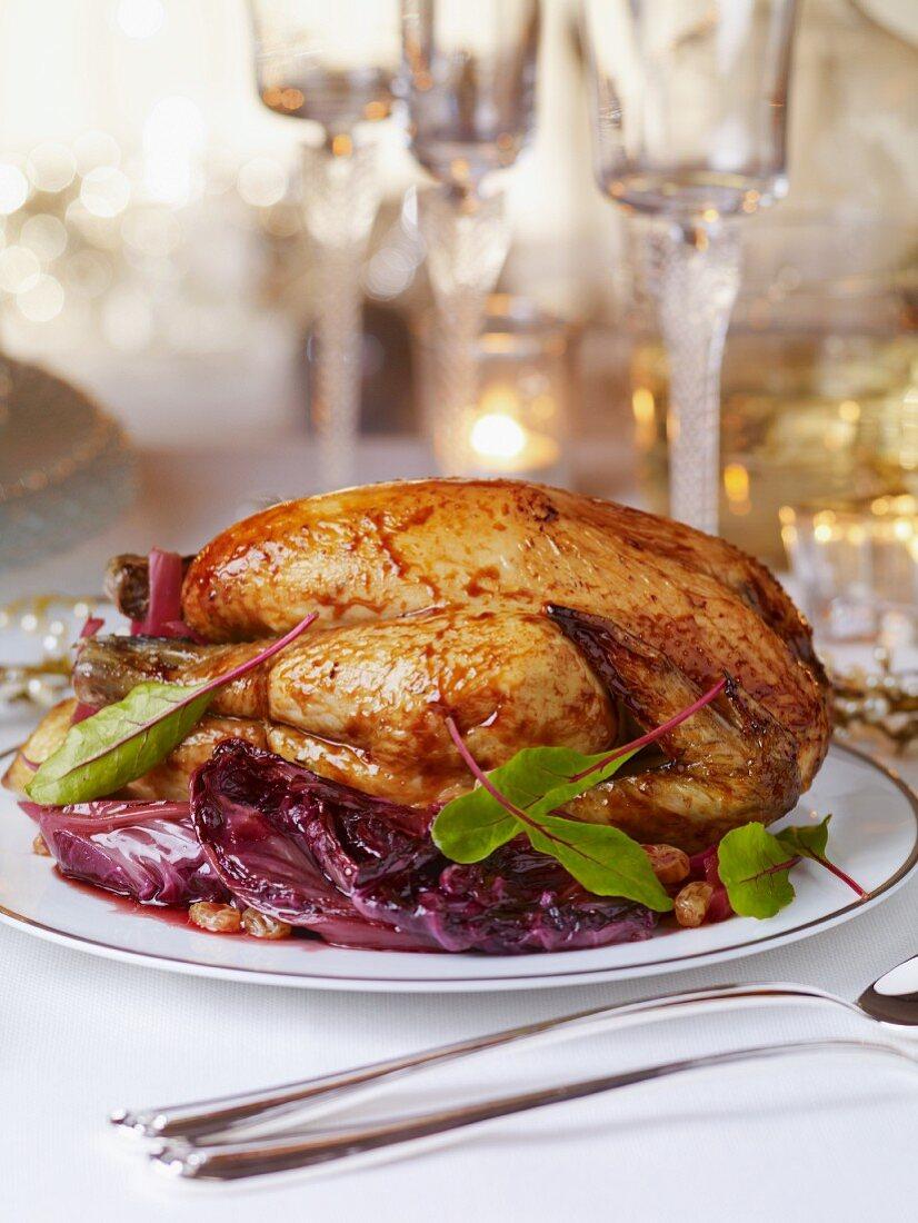 Roast capon for Christmas dinner