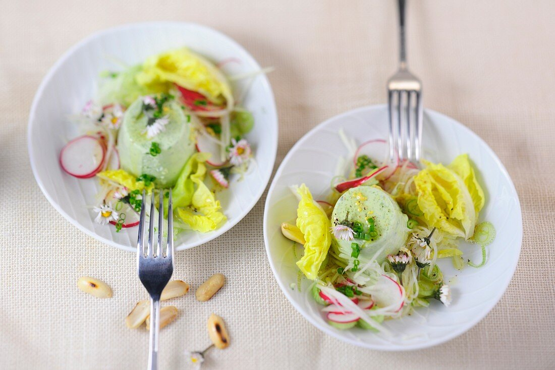 Herb timbale with a side salad