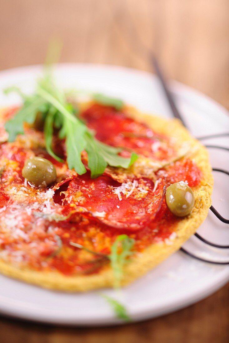 Farinata di ceci al salame (chickpea bread with salami)