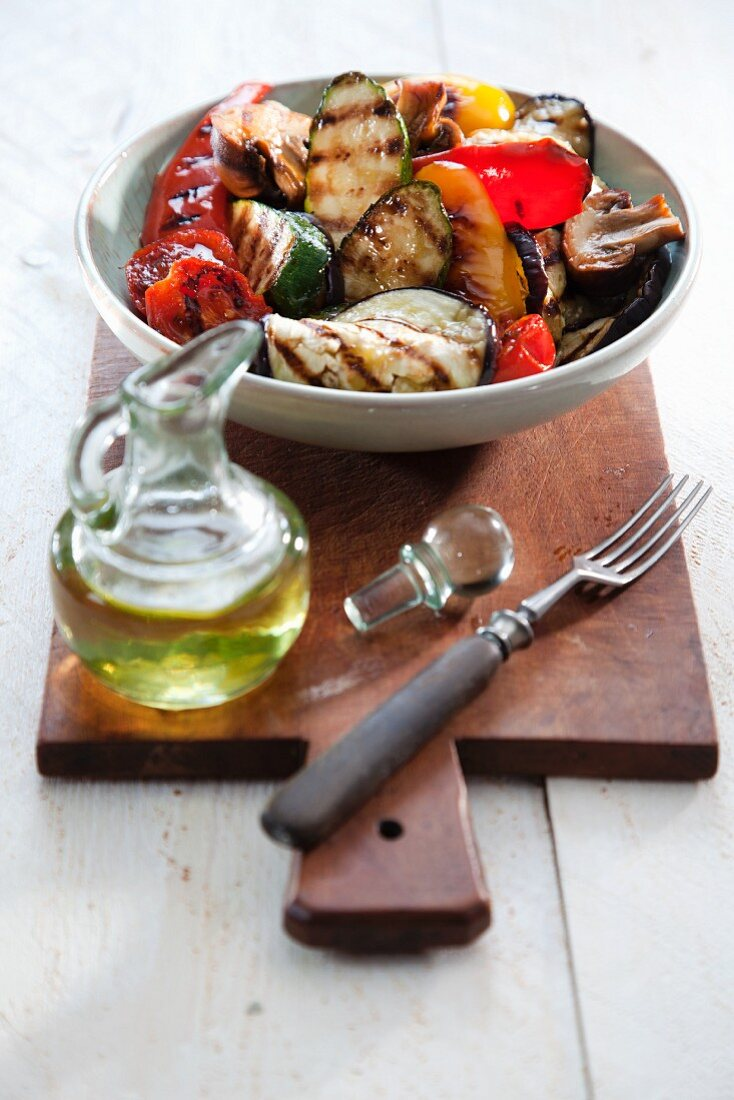 Grilled vegetables and olive oil