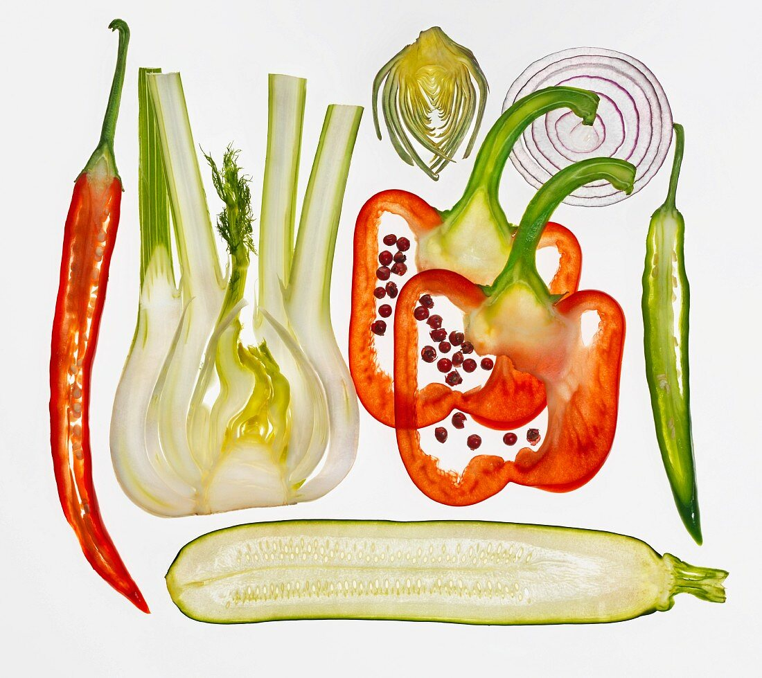 Various types of vegetables (sliced)
