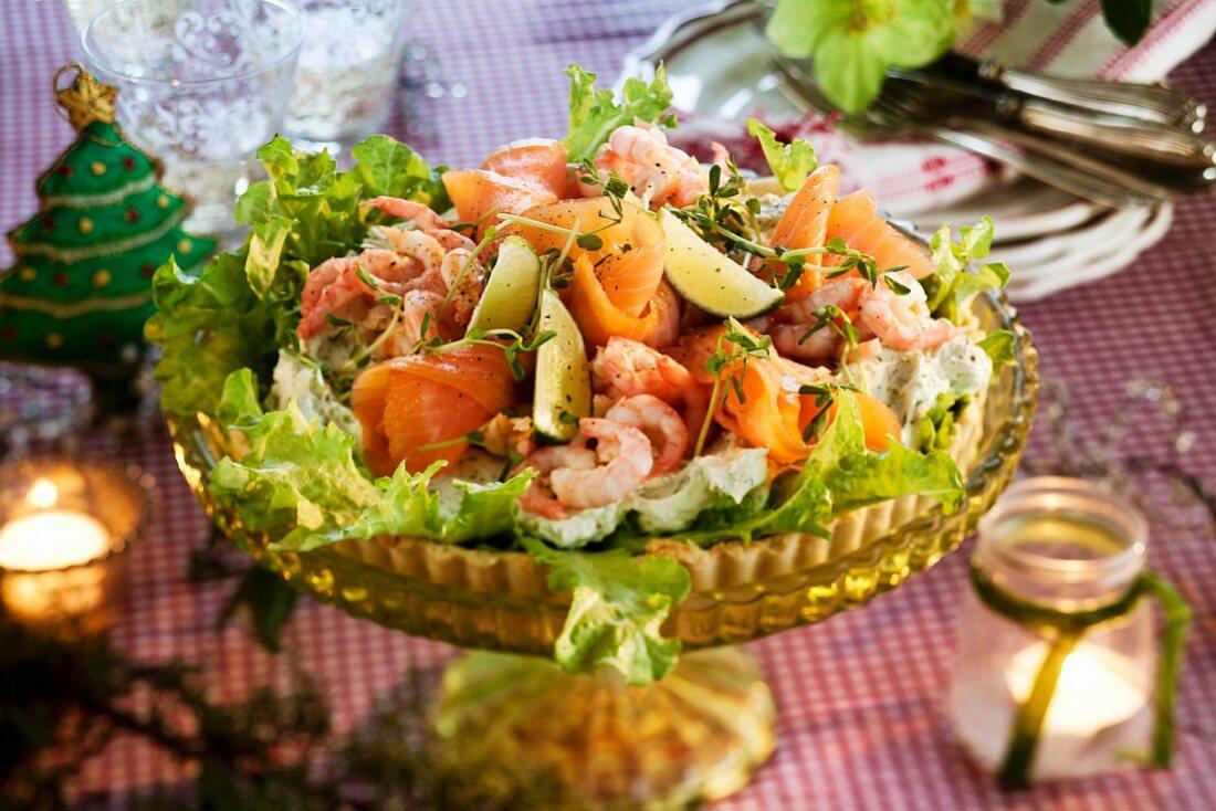 Salmon tart with shrimps for Christmas dinner (Sweden)