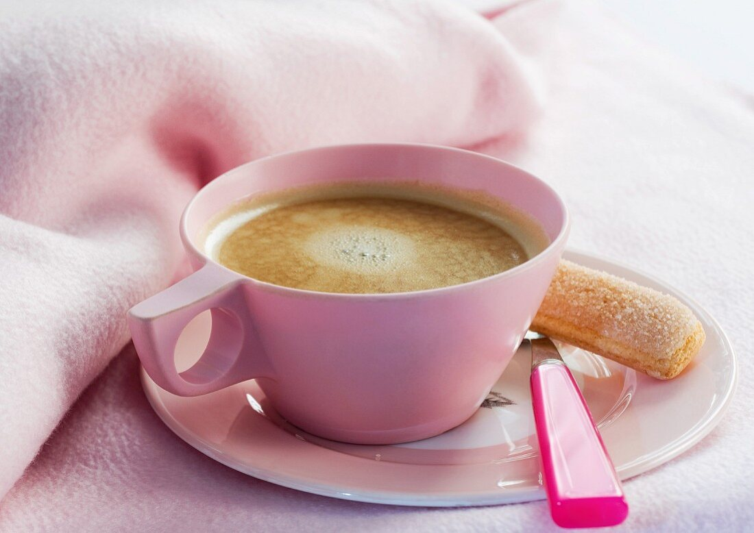 Cup of coffee on saucer with spoon and ladyfinger cookie