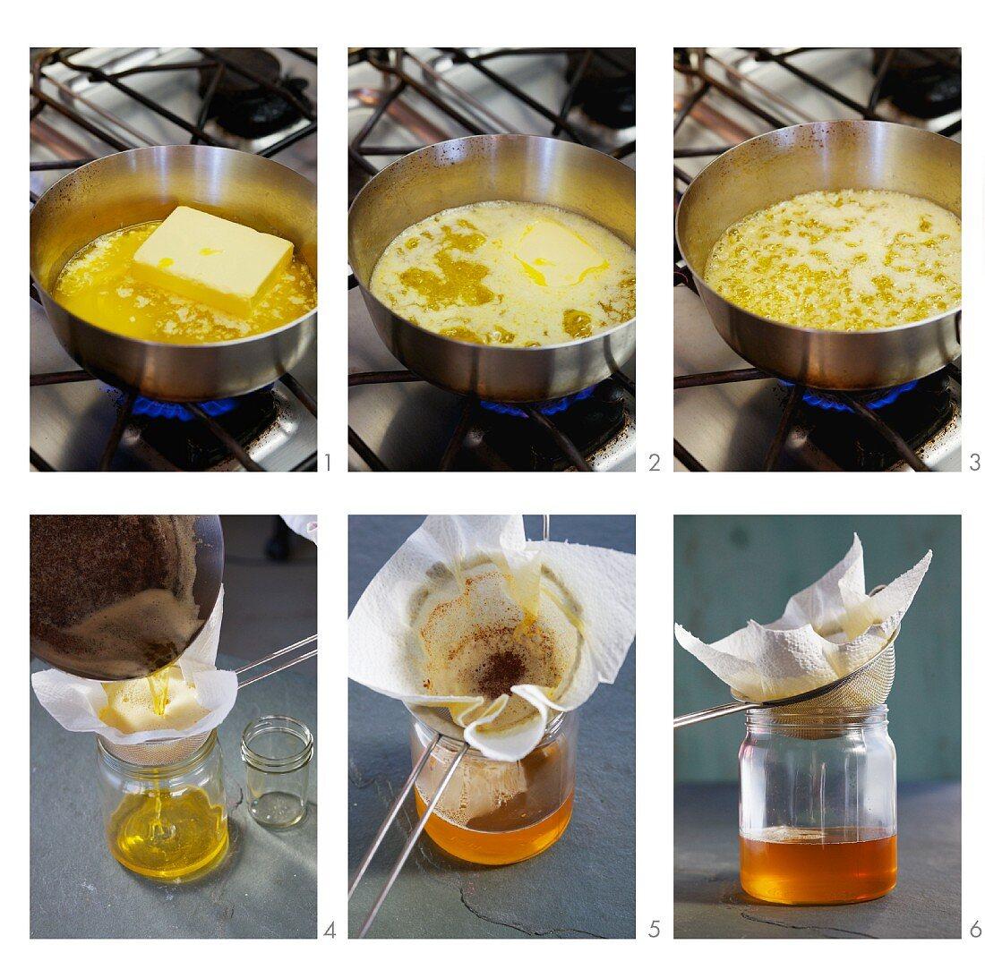 Clarified butter (ghee) being made