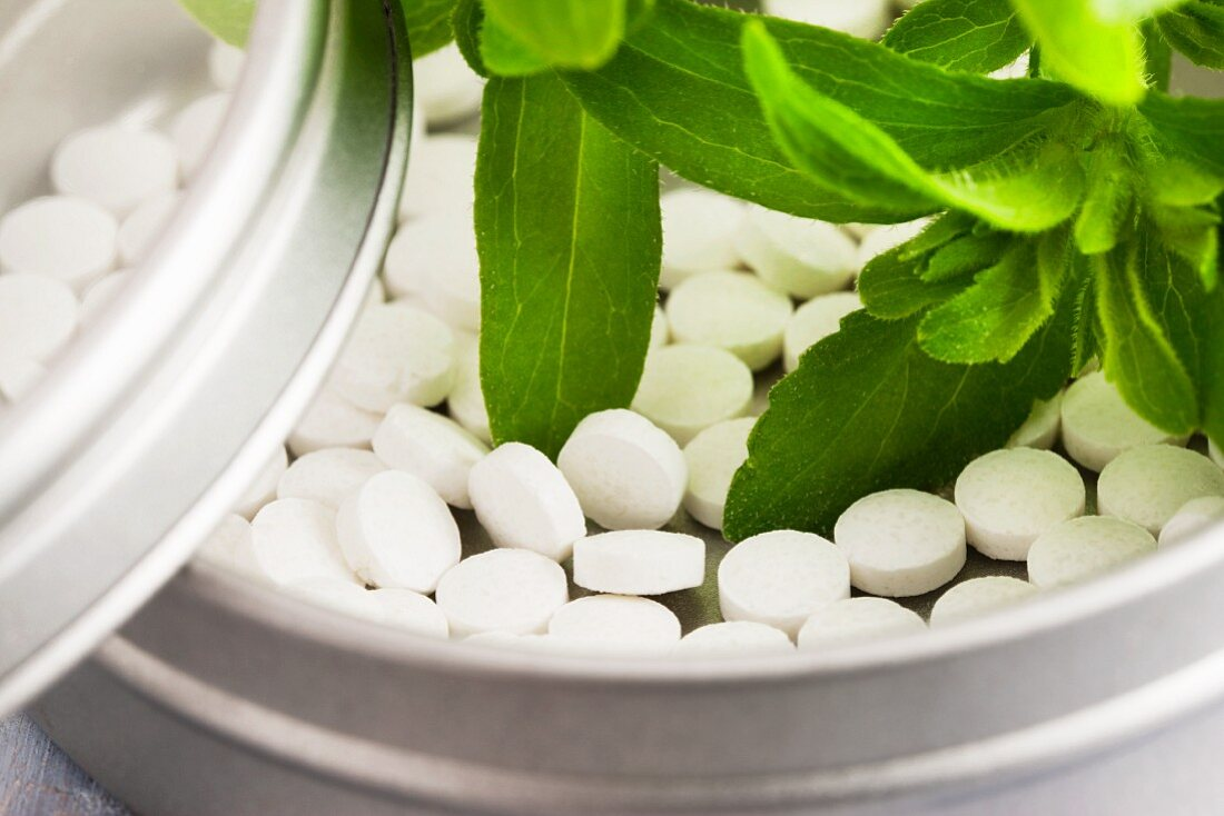 Stevia plant leaves and stevia tablets in a small tin