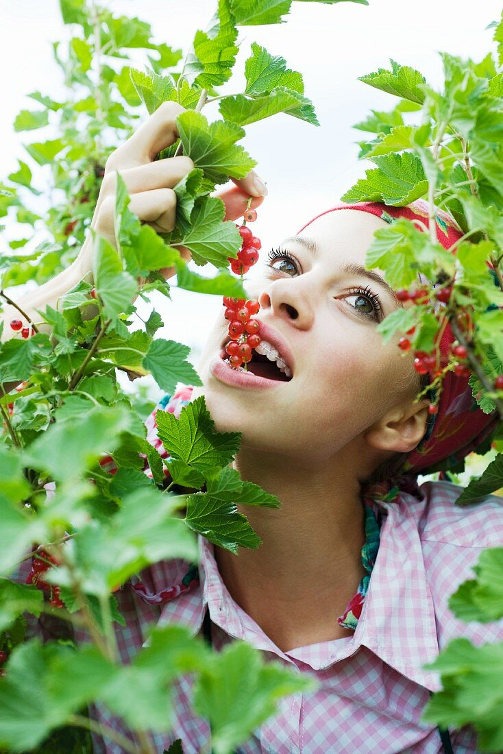 Teen girl eating red currants off the stem, surrounded by vegetation