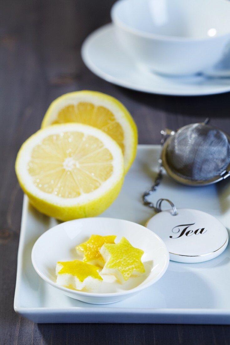 Star-shaped lemon zest with a tea strainer
