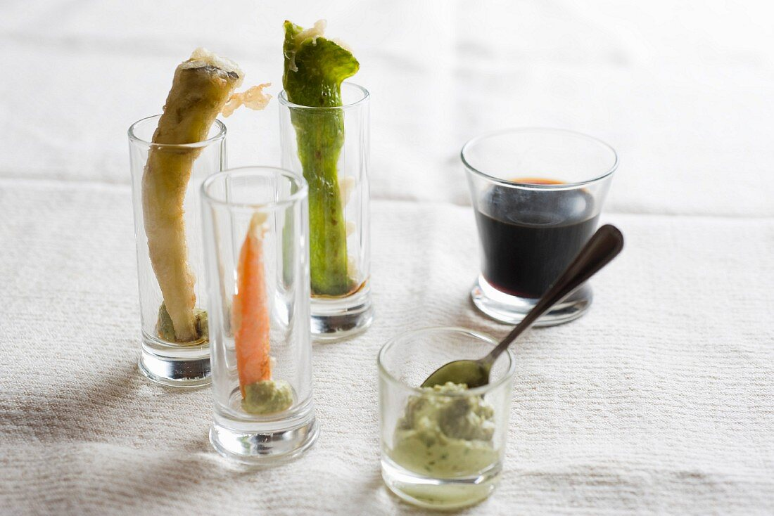 Vegetable tempura with wasabi and soy sauce