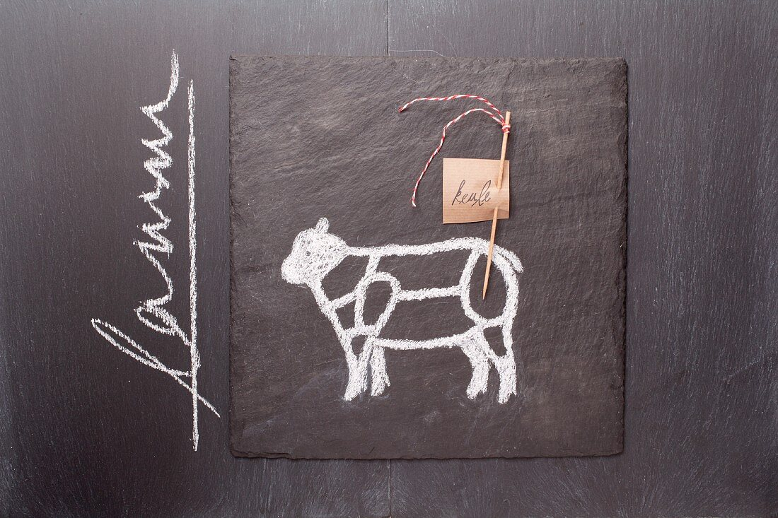 A sketch of a lamb and a written label on a chalkboard