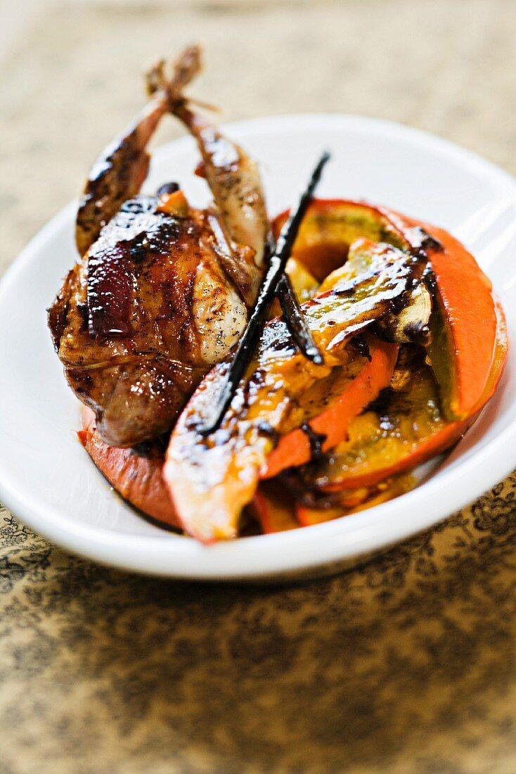 Roast quail with pumpkin and vanilla butter