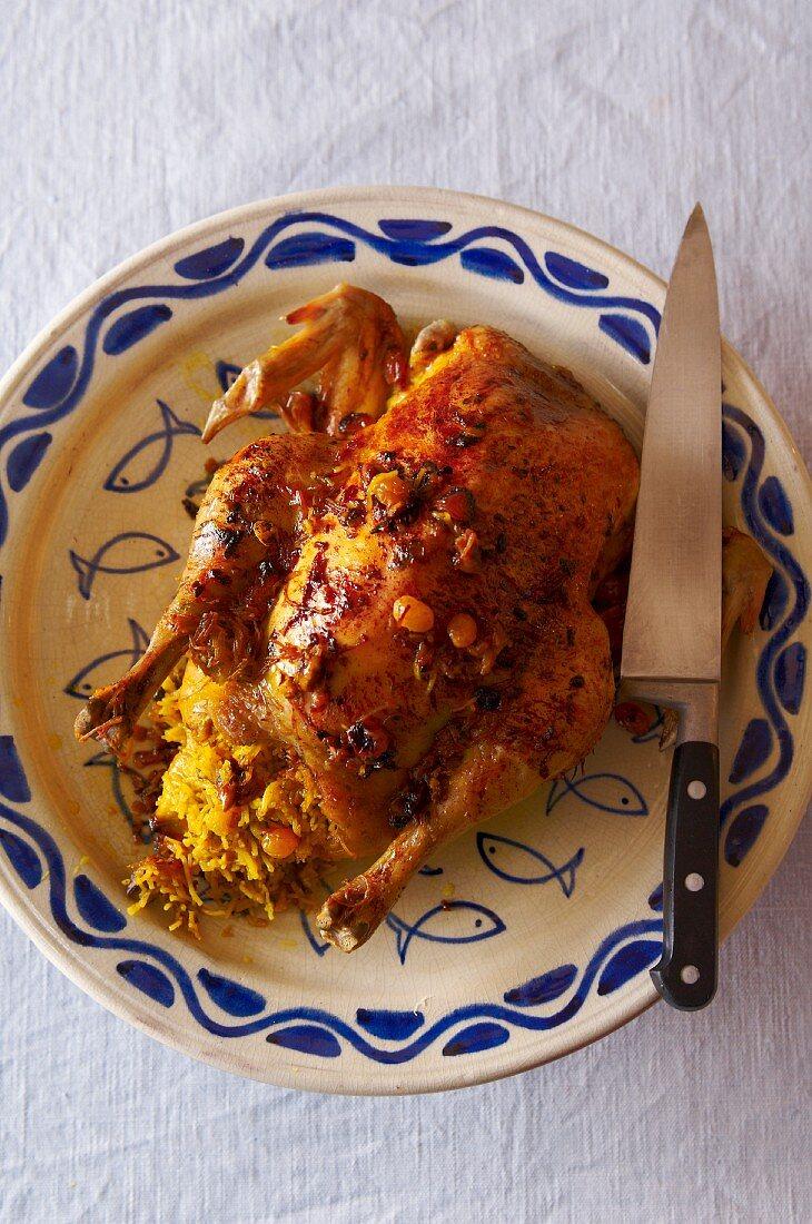 Poulet farci aux vermicelles (stuffed Moroccan chicken)