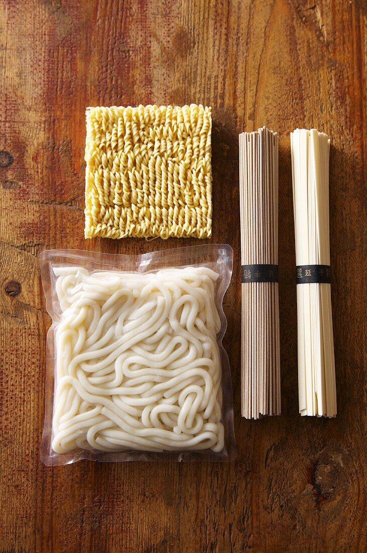 An arrangement of oriental noodles