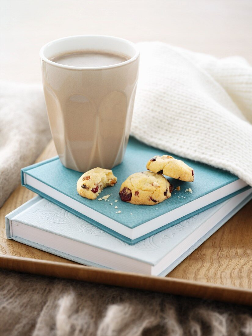 Apricot and cranberry biscuits and a cup of cocoa