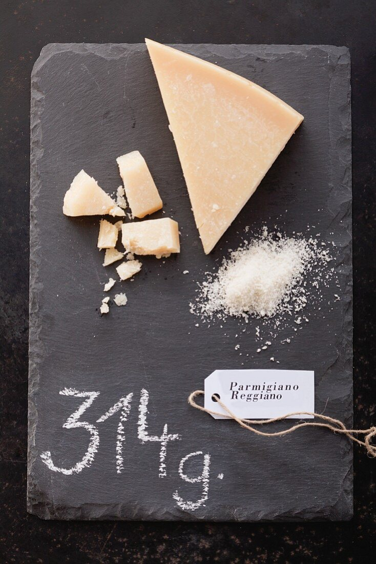 Parmigiano Reggiano with a label and its weight