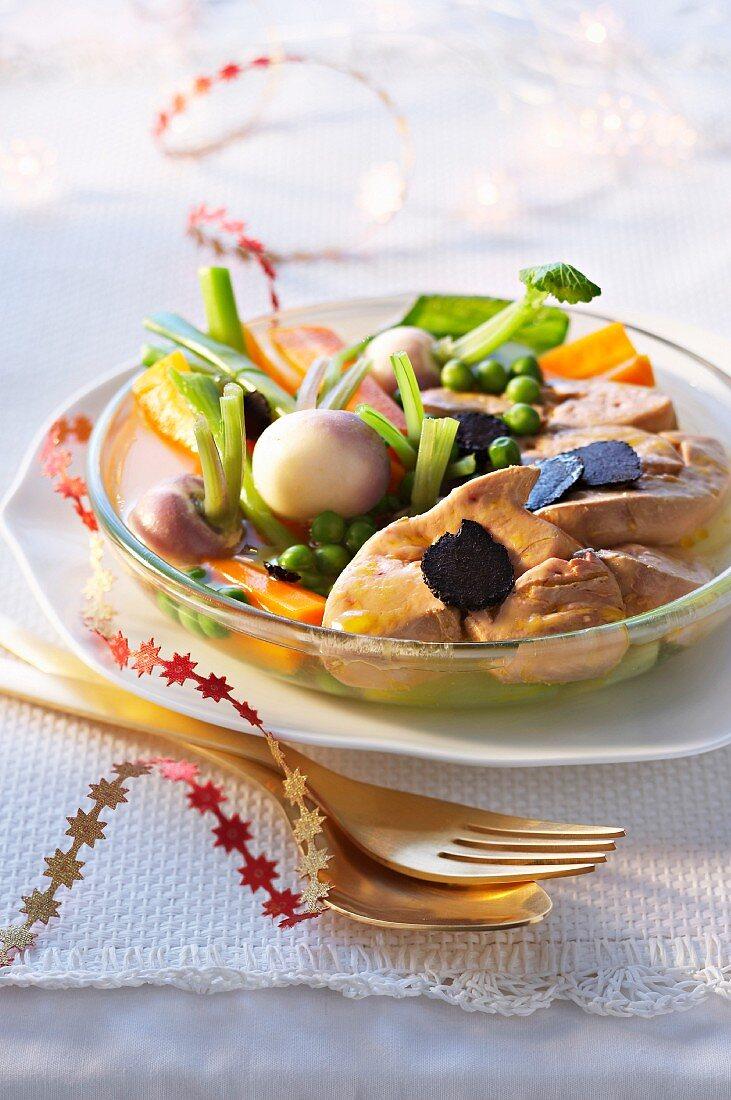 Pot Au Feu with goose liver for Christmas dinner