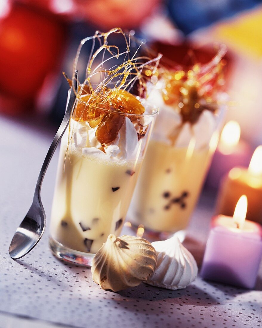Truffled zabaglione with grapes and caramel strands for Christmas dinner