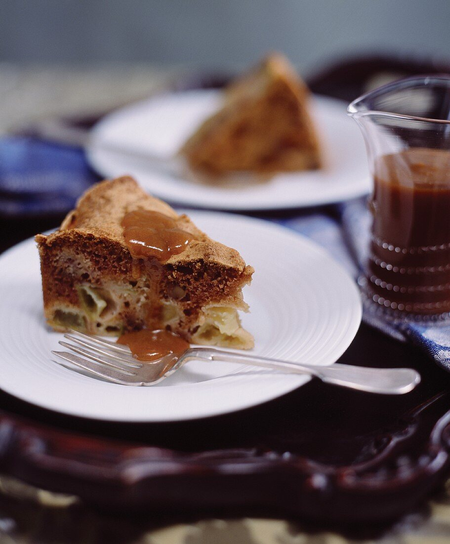 Gluten-free apple cake with a whisky & caramel sauce