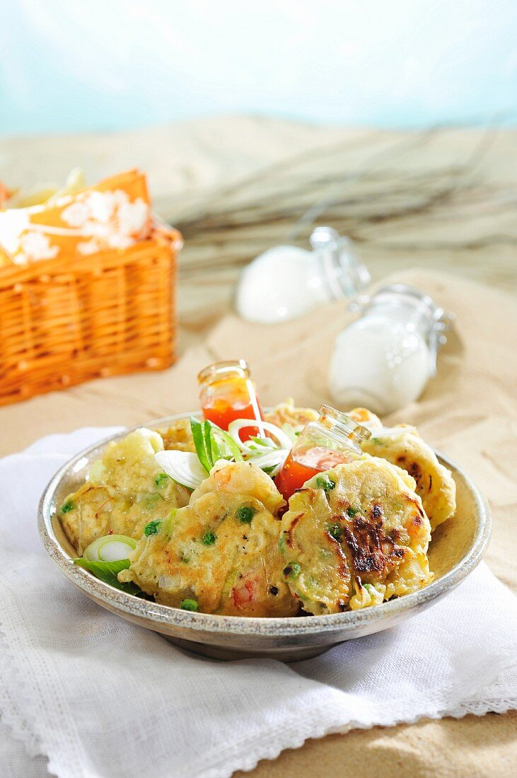 Sweetcorn fritters with prawns for breakfast