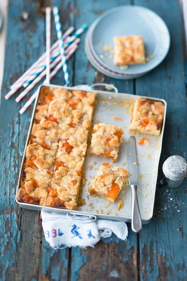 Apricot tray bake crumble cake