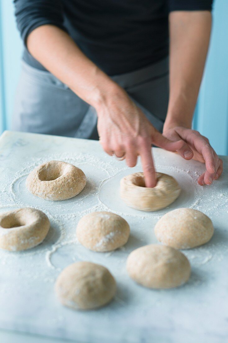 Bagels being made
