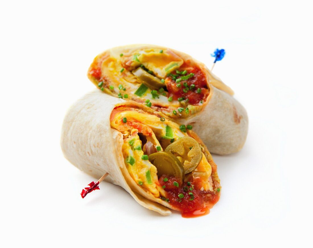 Breakfast burritos with scrambled eggs and jalapeños