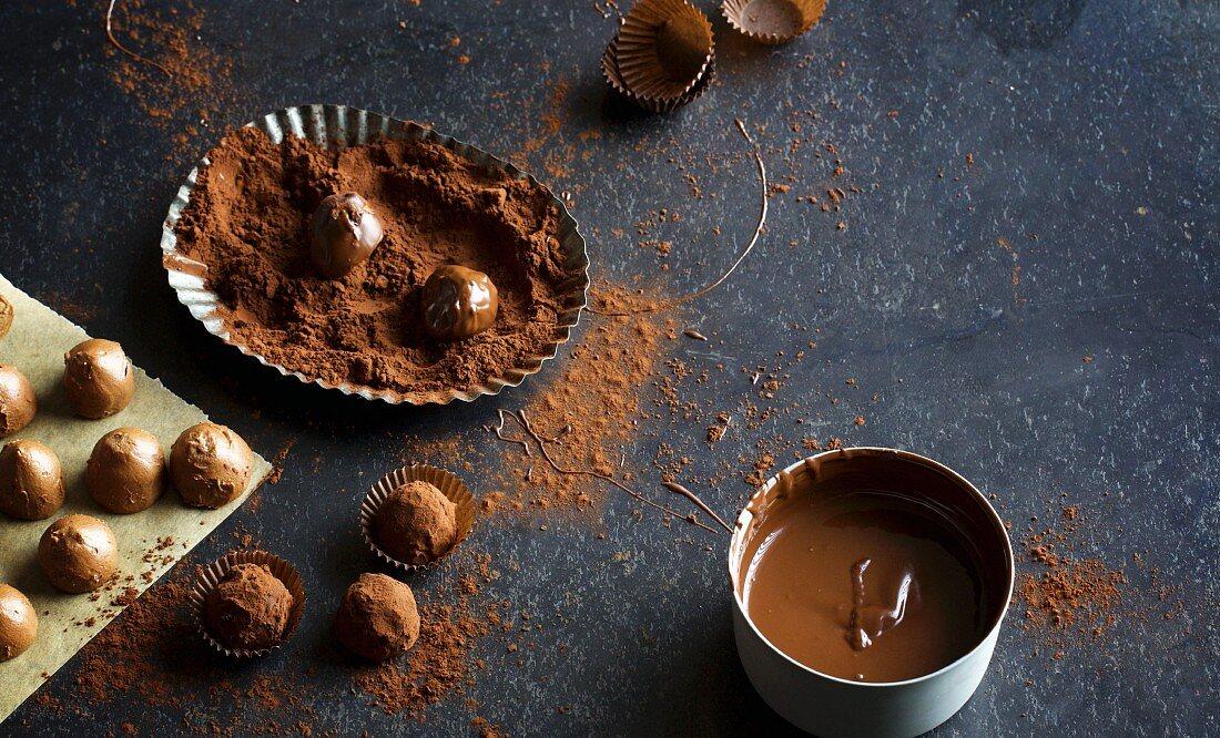 Elegant, dark chocolate pralines