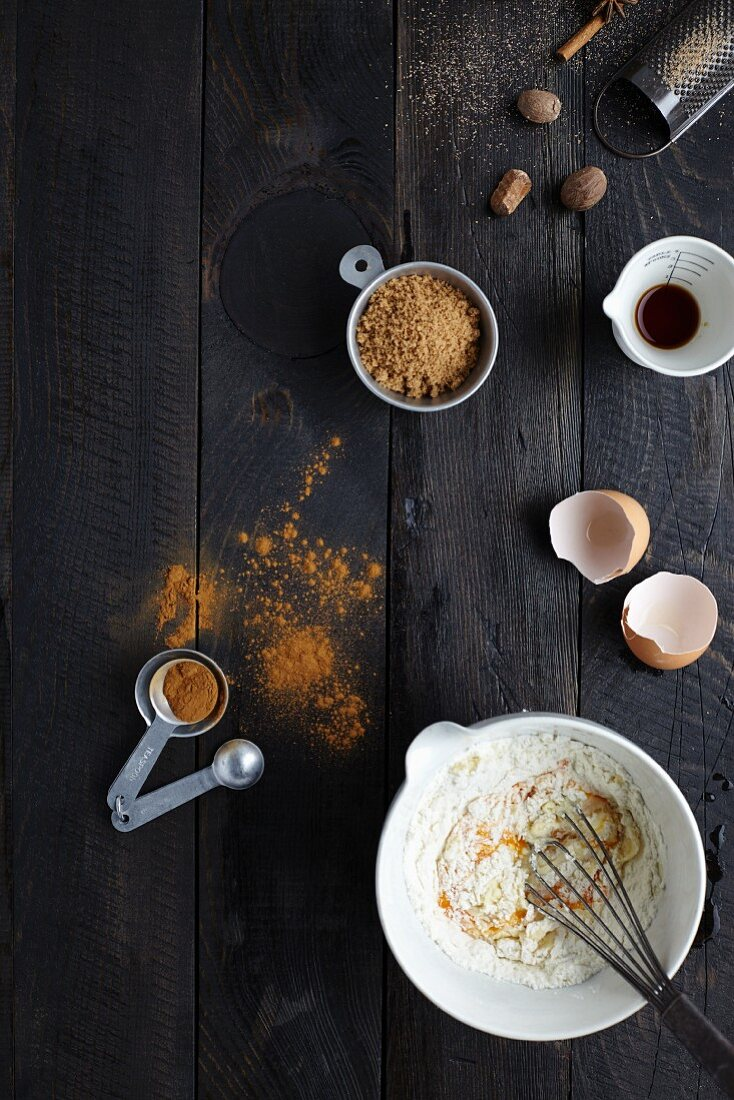 Various baking ingredients and utensils for Christmas baking