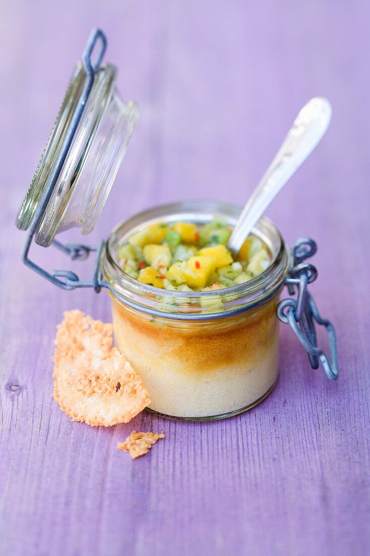 Parmesan and pepper flannel with Creole avocado salsa in a jar