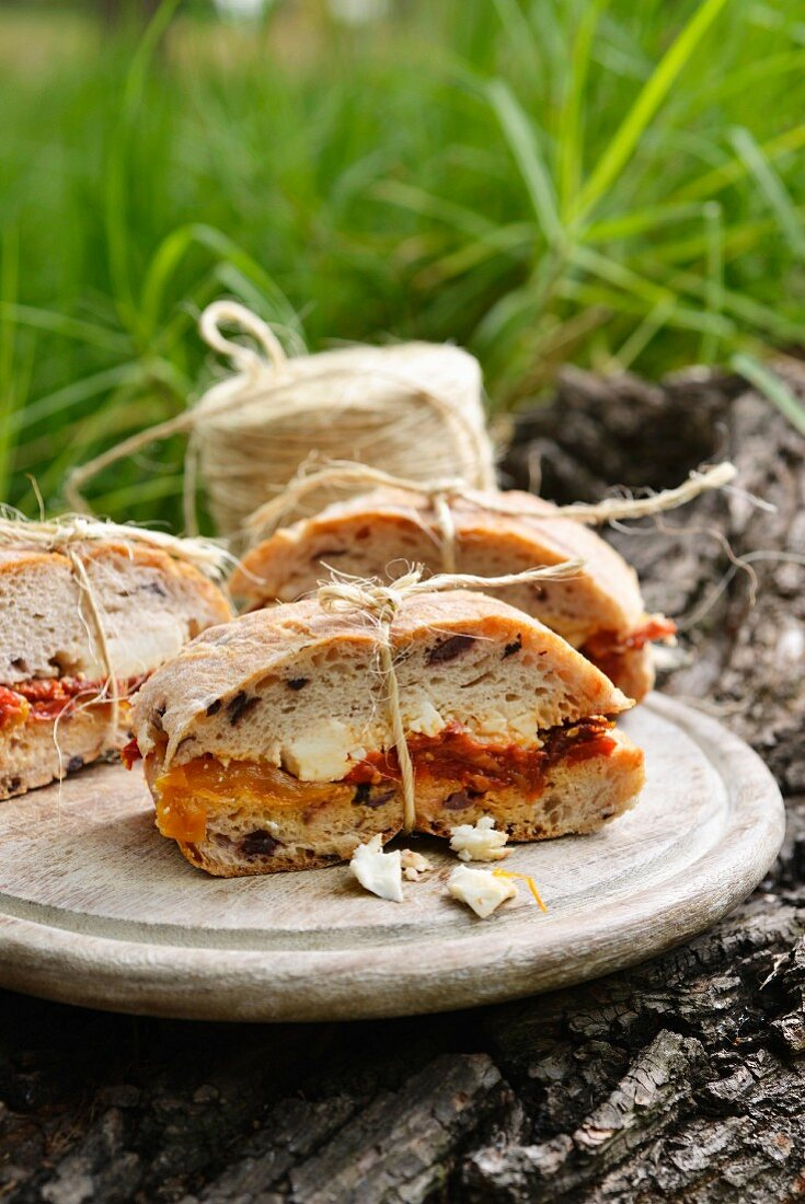 Olive bread sandwiches for a winter picnic (South Africa)