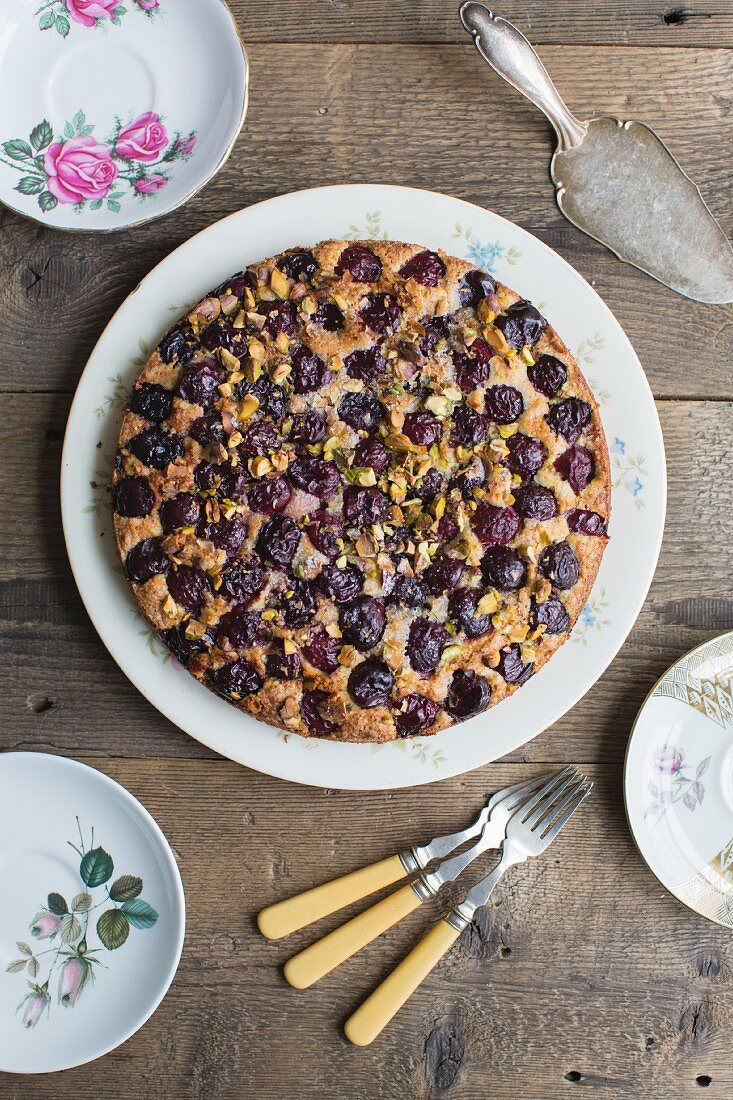 Cherry cake with pistachios (seen from above)