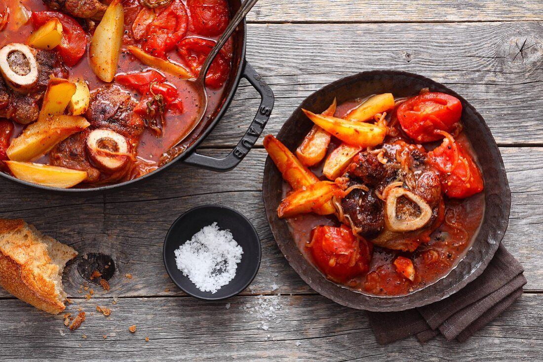 Osso bucco with tomato sauce (Italy)