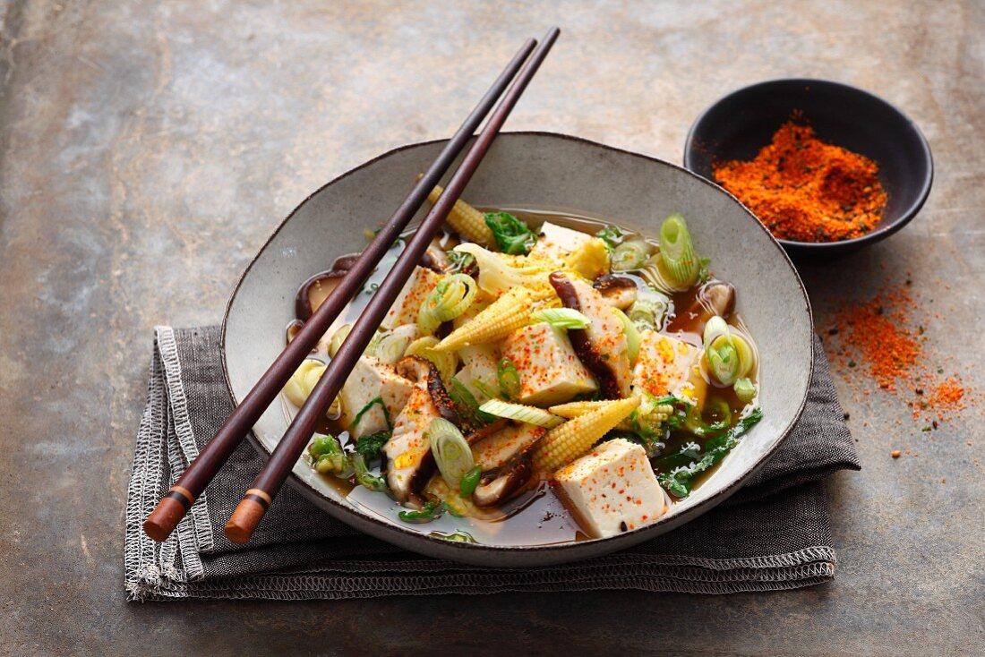 Sumo stew from Japan with tofu and shiitake mushrooms