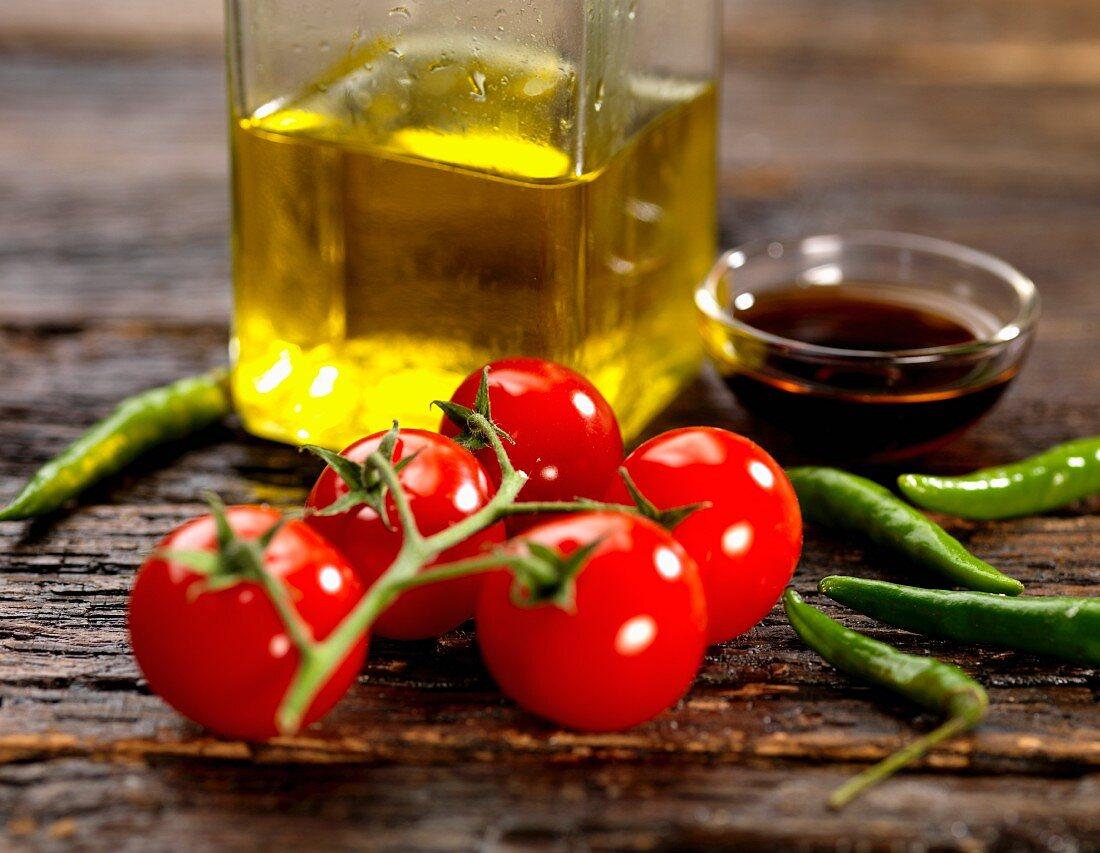 Vine tomatoes, chilli, balsamic vinegar and olive oil