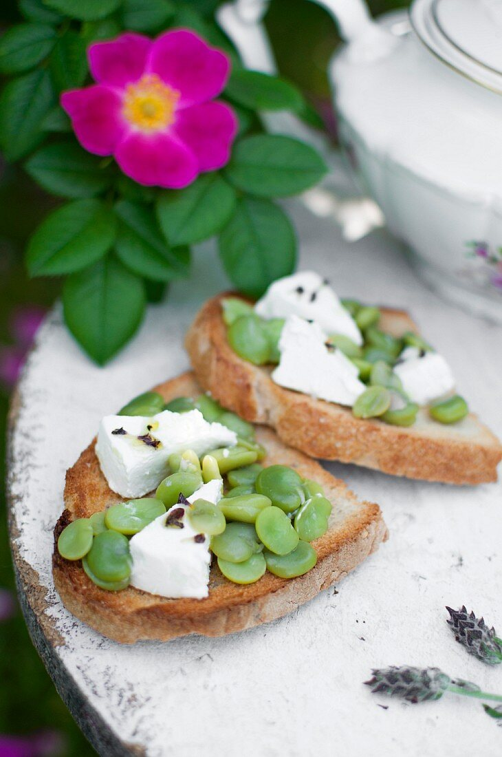 Bruschetta with broad beans, goat's cheese, lavender flowers and olive oil